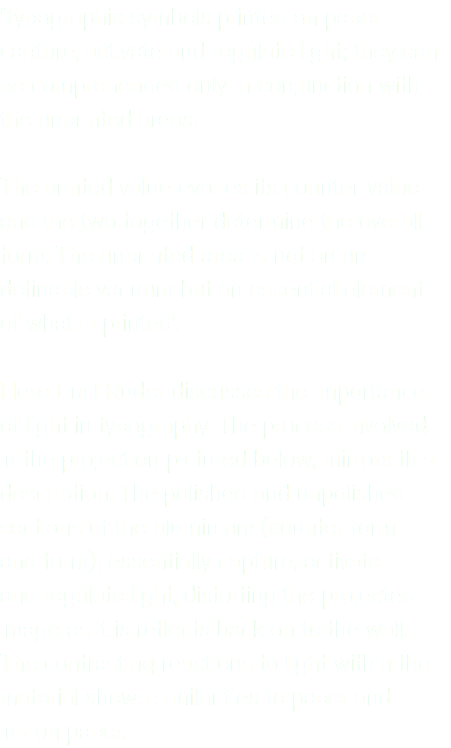 'Typographic symbols printed on paper capture, activate and regulate light; they can be comprehended only in conjunction with the unprinted areas. The printed value evokes its counter-value and the two together determine the overall form. The unprinted area is not an un-definable vacuum but an essential element of what is printed'. Here Emil Ruder discusses the importance of light in typography. The process involved in the projection pictured below, mirrors this description. The polished and unpolished sections of the aluminium (counter form and form), essentially capture, activate and regulate light, distorting the projected image as it is reflects back on to the wall. The contrasting reactions to light within the material shows similarities to paper and ink on paper.